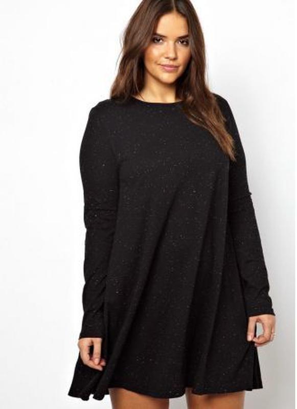 8b0f3926bf20f Черная пятница -50% черное платье-трапеция с карманами пог 81 см батал 54  ...