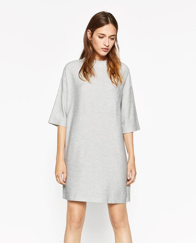 3e9b08b62ff Праздничное серебристое платье zara с люрексом блестящее металлик оверсайз1  фото ...