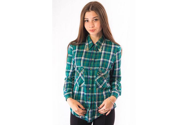 428b3d75352 Рубашка женская зеленая в клетку с дизайнерскими стразами zara (m)1 фото ...