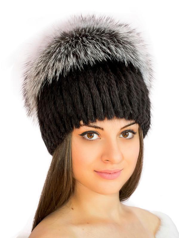 шикарнаямеховая шапка на вязаной основе парик ондатра