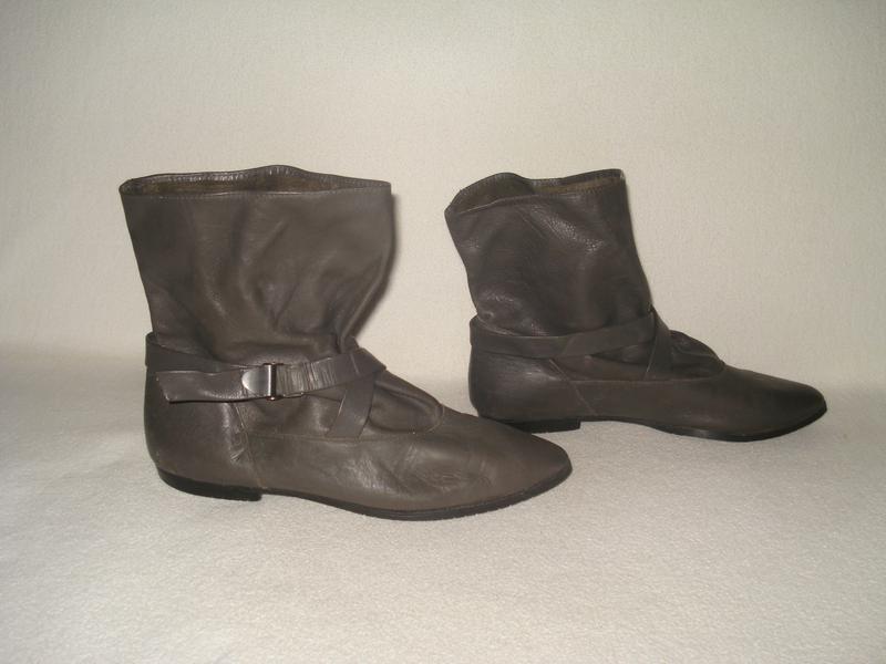 38.5-39 р. 25 cм. фирменные демисезонные кожаные ботинки c широким  голенищем1 ... b5a90f6429f