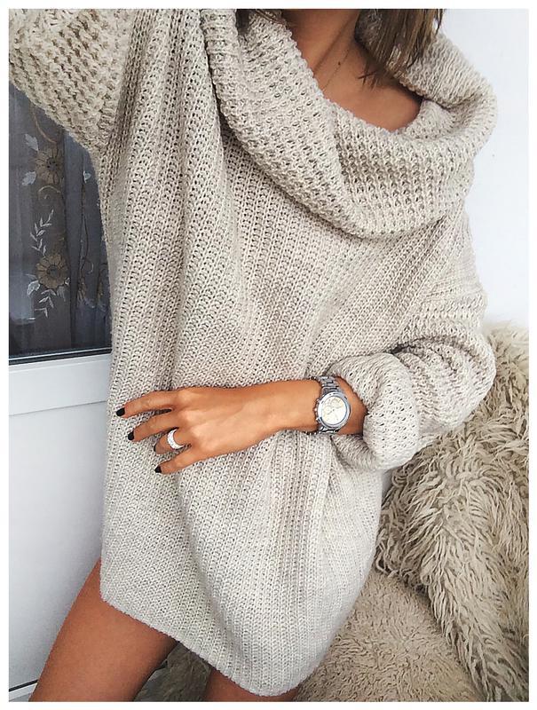 эффектное объемное вязаное платье свитер бежевого цвета от Hm Hm