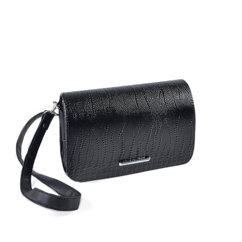 00334187312d Лаковая женская черная маленькая сумка клатч на плечо кроссбоди1 фото ...