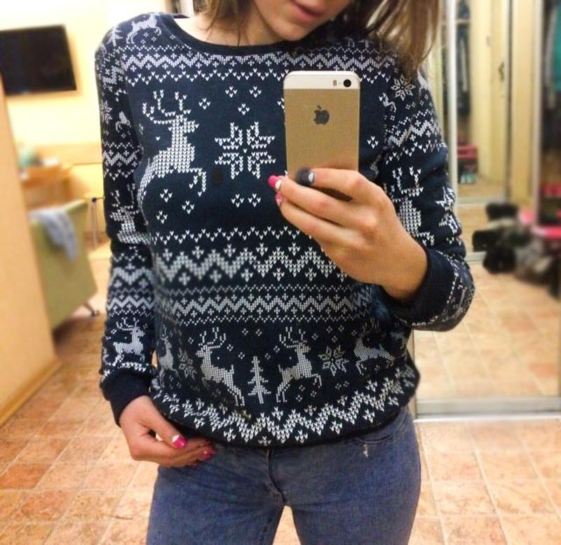 Новый новогодний свитшот на флисе с оленями свитер с-м м-л новорічний  светер ... 259a8de13821b