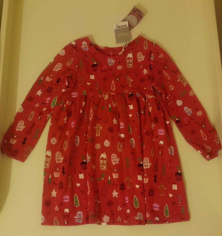 9f5d28e71a6 Новогоднее рождественское платье туника next 104 см 3-4 г. англия1 фото ...