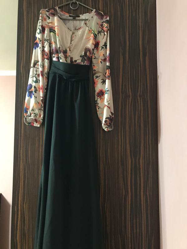 496593d2ef32e1d Темно-зеленое платье piena в пол с ярким расписным верхом1 фото ...