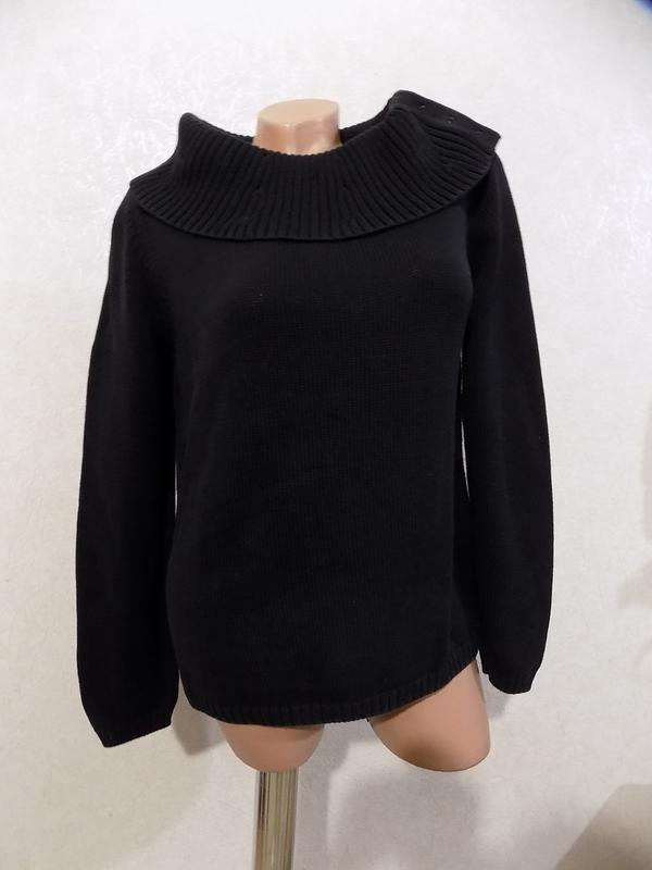 свитер теплый вязаный воротник хомут черный фирменный размер 46 48