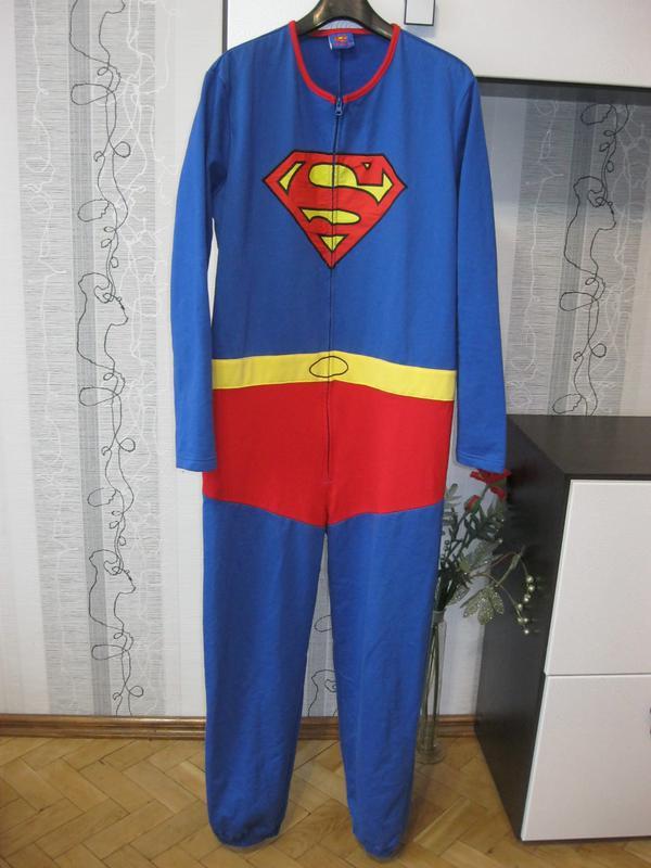 Теплый с начесом супермен кигуруми пижама спортивный костюм л 170-1801 ... b27f9651df3b9