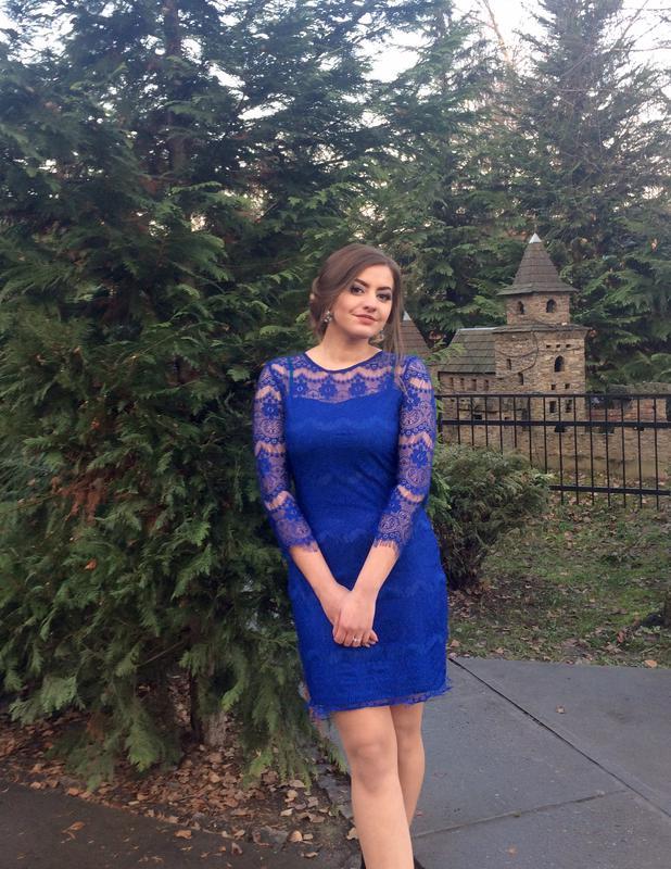 7894adf95e4 Гипюровое кружевное платье синее мини вечернее с длинным рукавом синего  цвета1 фото ...