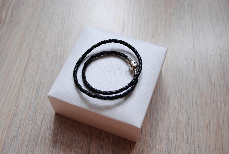 новый браслет Pandora пандора оригинал кожаный черный 35 см в