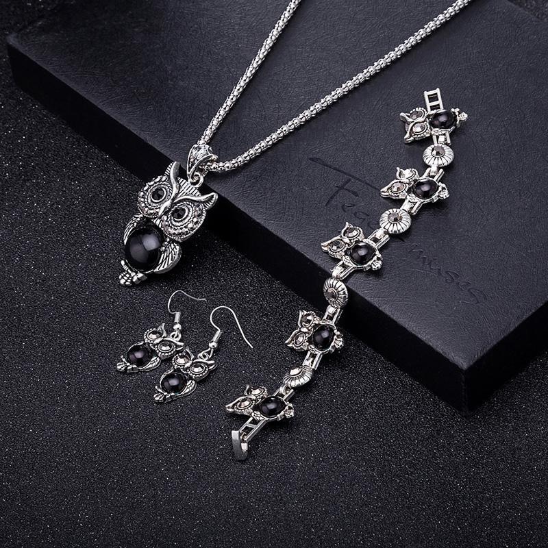 Набор украшений ожерелье с подвеской, серьги и браслет сова, цена ... 3c404e1b0d1