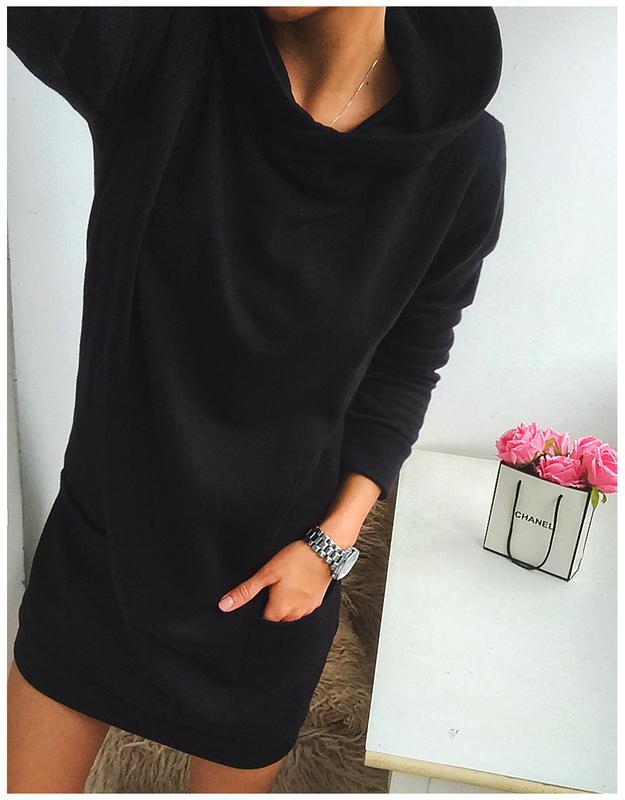 4657ff68c63 ... Стильное черное спортивное платье - худи на флисе от colors of the  world2 фото ...
