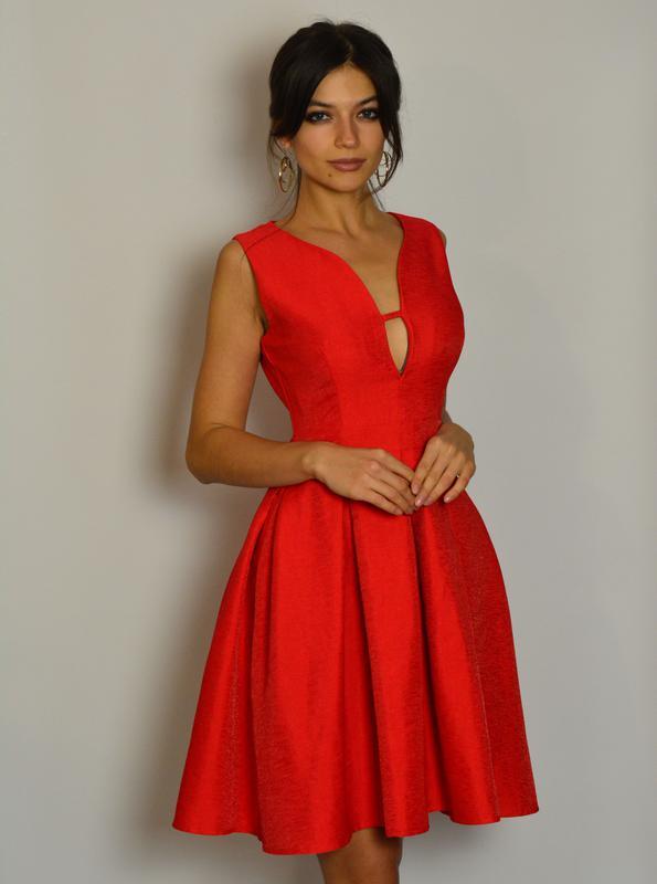 7ea9488425c Милое красное платье с пышной юбкой люрекс1 фото ...