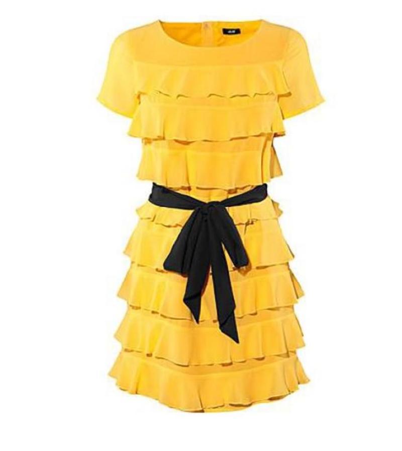 Платье желтое h m