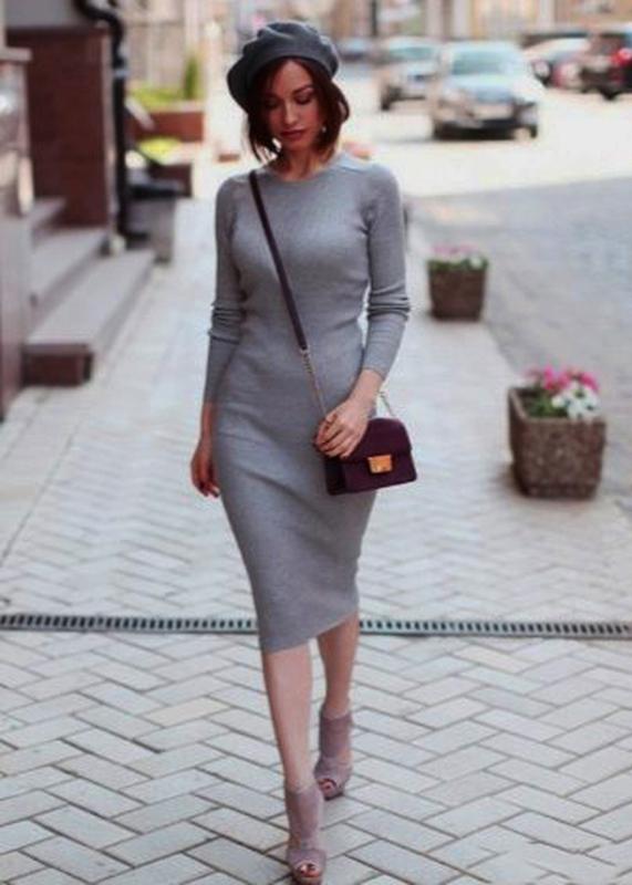 99e58c3841e2d33 Распродажа стартовала! скидки до 50%.серое базовое платье миди меланж1 фото  ...