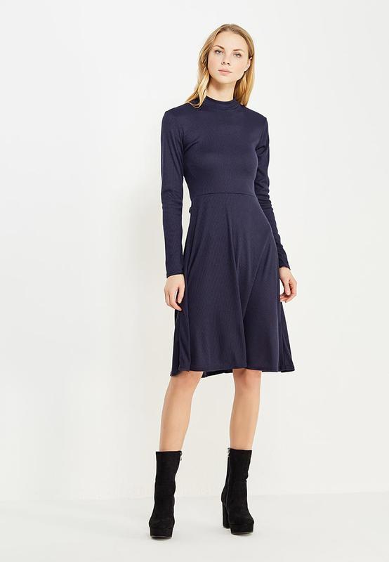 0d83b8dabd5 Платье теплое синее в рубчик трикотаж с открытой спинкой и воротником lost  ink1 ...
