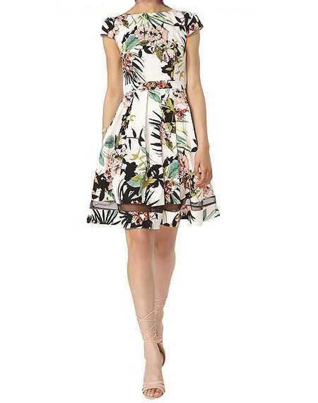 b82669e10fd7 Красивое платье в тропический принт от dorothy perkins с клешевой юбкой, 10  р. новое! (Dorothy ...