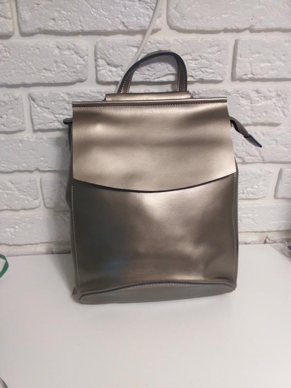 3bc523ecafd3 Шикарный рюкзак-сумка из натуральной кожи, цвет серебро, цена - 899 ...