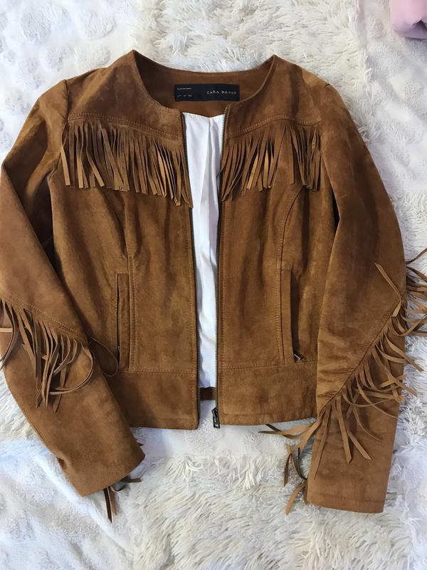 e386f9f2c Замшевая куртка с бахромой ZARA, цена - 750 грн, #9480285, купить по ...