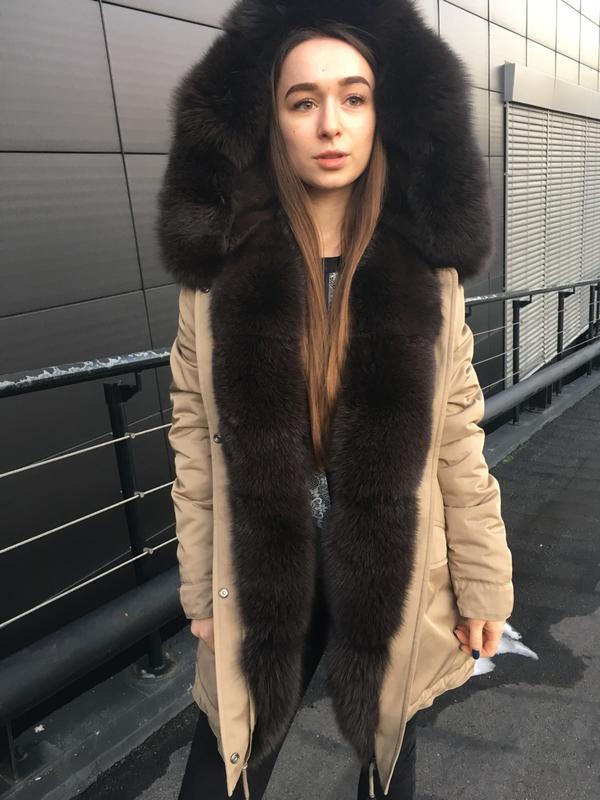 f4516728bbf Женская куртка парка с натуральный мех песец