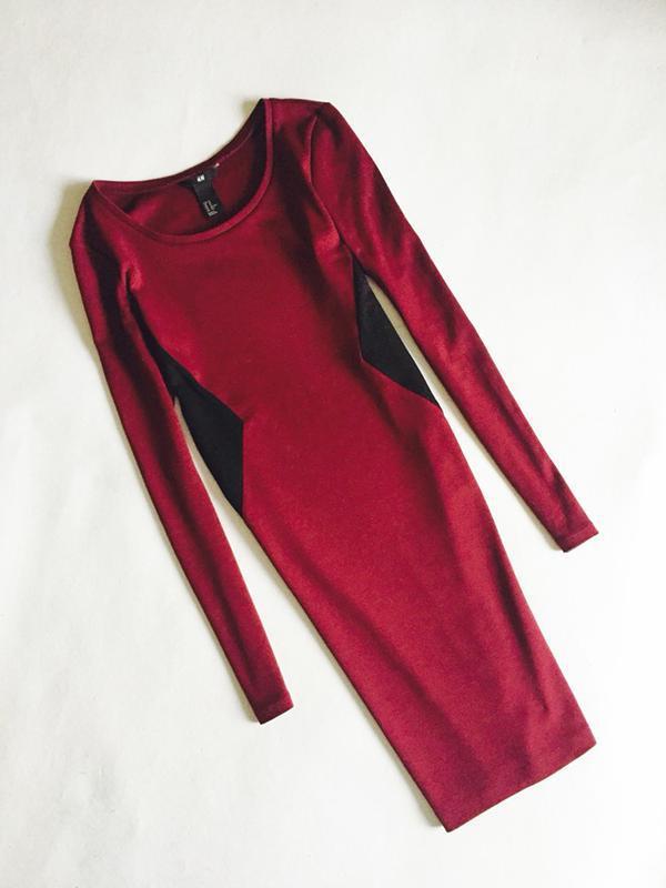 357d0d4f511a524 Стильное платье в обтяжку с длинным рукавом бордового цвета1 фото ...
