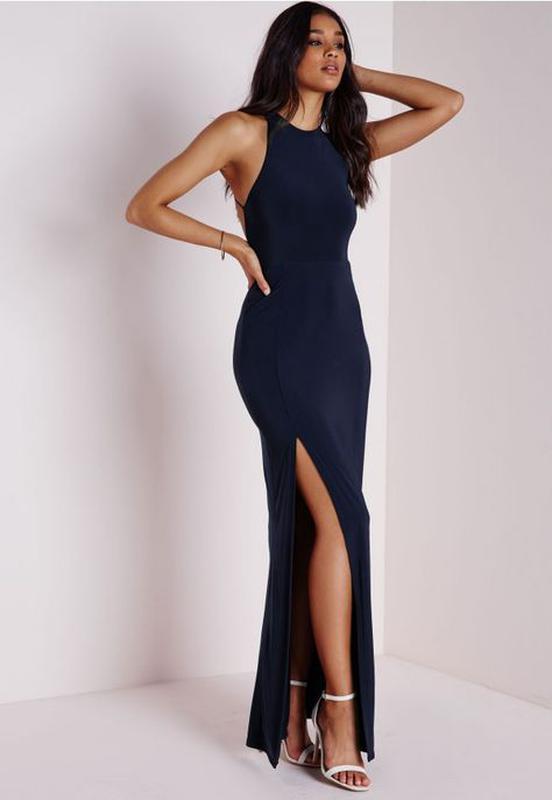 e517c039d87 Длинное вечернее темно-синее платье в пол с открытой спиной1 фото ...