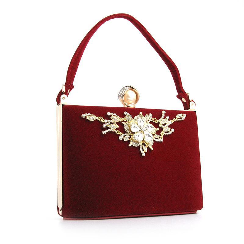 71e5b7a7f464 Вечерняя красная маленькая сумка клатч из велюра со стразами1 фото ...