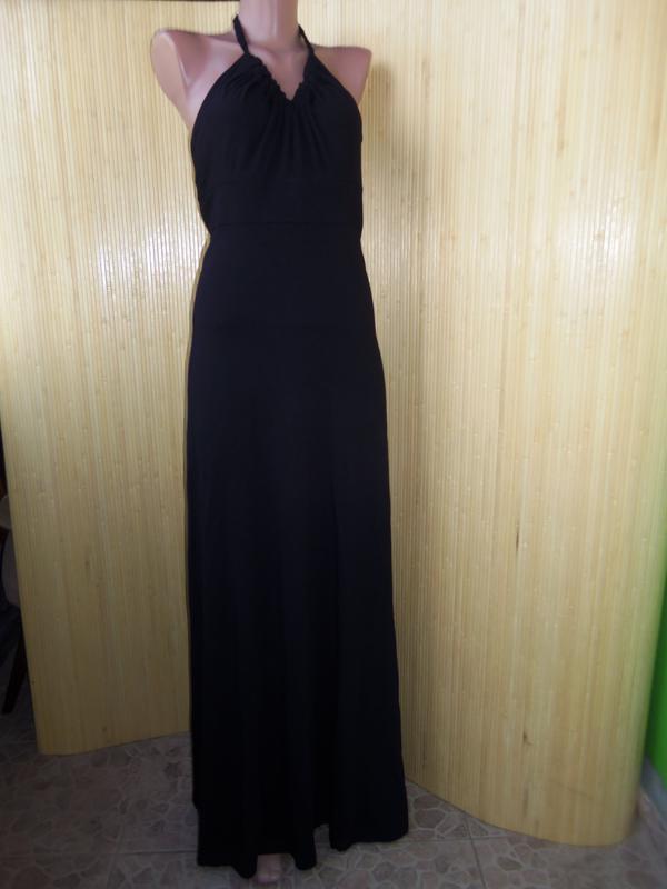 Трикотажное чёрное вечернее платье макси под грудь с открытой спиной1 ... 00bdcc4b46a