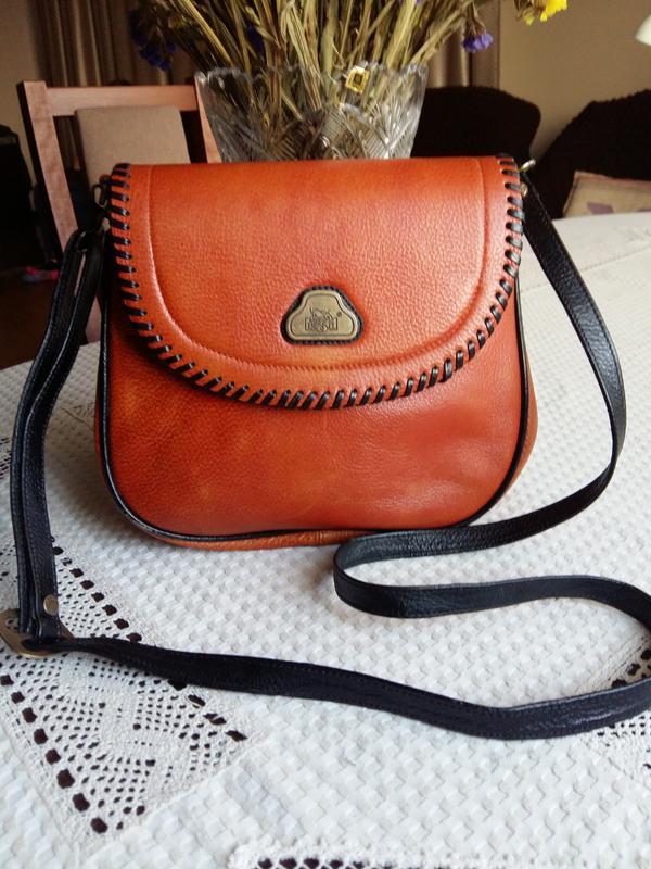 c9fa8330eb51 Кожаная оранжевая сумка кроссбоди фирмы bessel, цена - 330 грн ...