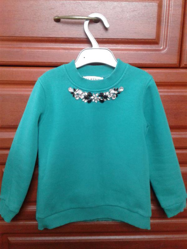 Шикарный теплый свитер-кофта-джемпер девочке с камнями зеленый 5-6лет1 ... 124765d582462