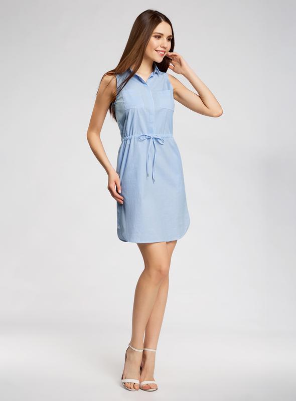 5c223a57de8 Голубое хлопковое платье oodji на кулиске1 фото ...