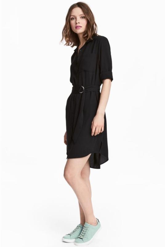 b39c90c8f555e42 Черное платье рубашка,струящееся платье рубашка h&m H&M, цена - 390 ...