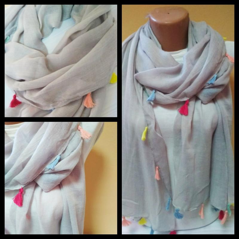 0a9750154b33 Легкий шарф с кистями светло-серый, цена - 170 грн,  10086394 ...