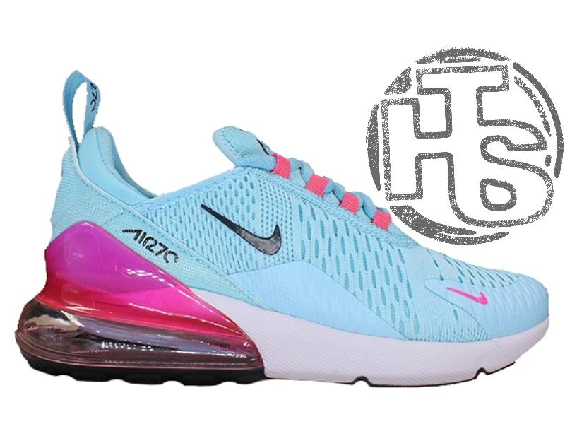 2d5f2b97 Женские кроссовки nike air max 270 flyknit blue/white/pink1 фото ...
