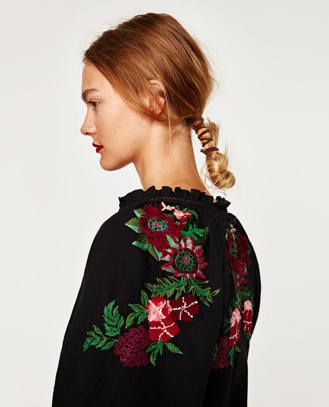 Блузка з вишивкою на рукавах та спині zara s-m ZARA 70262bbf681fc