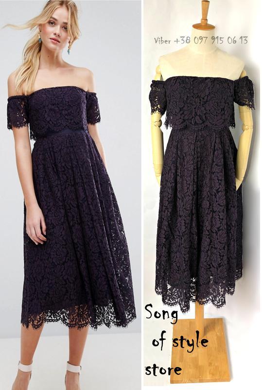 776799cb188 Платье миди на выпускной с открытыми плечами и кружевными вставками asos1  фото ...