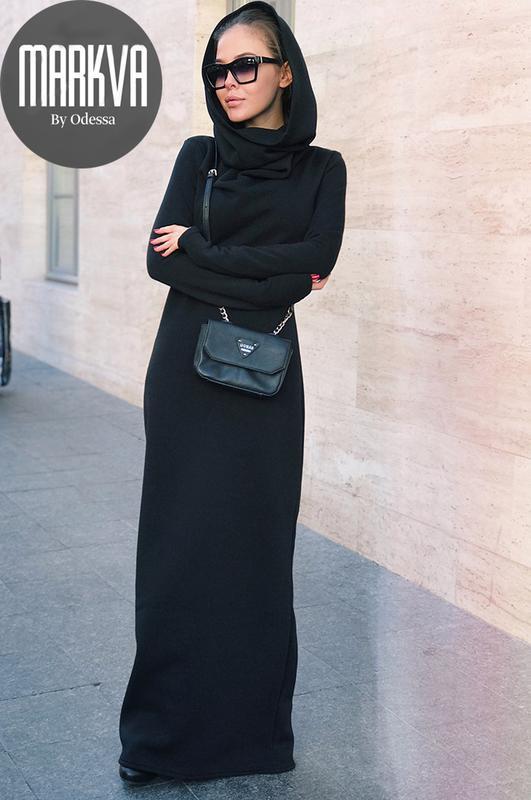 0157550b1cd Длинное зимнее платье с капюшоном1 фото ...