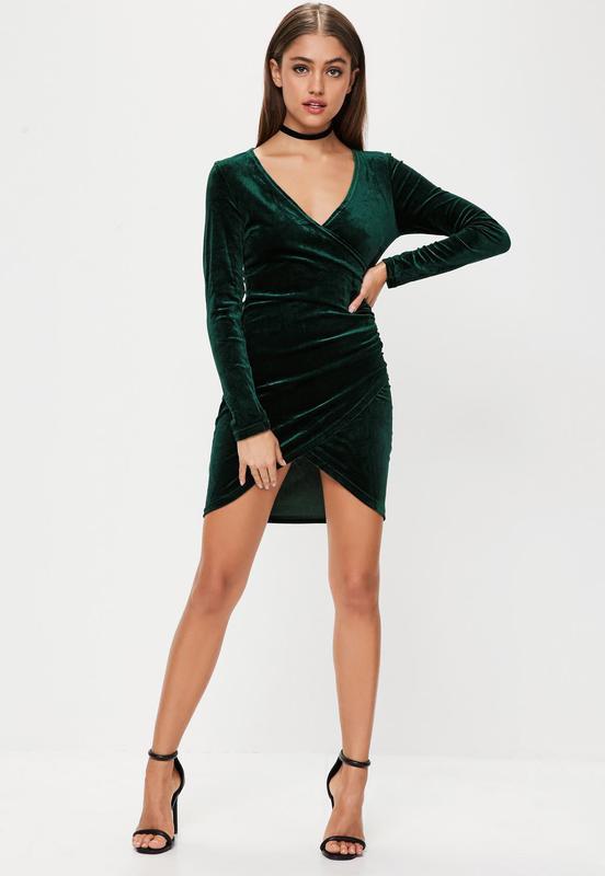 7eba738817e Шикарное бархатное платье missguided изумрудного цвета Missguided ...