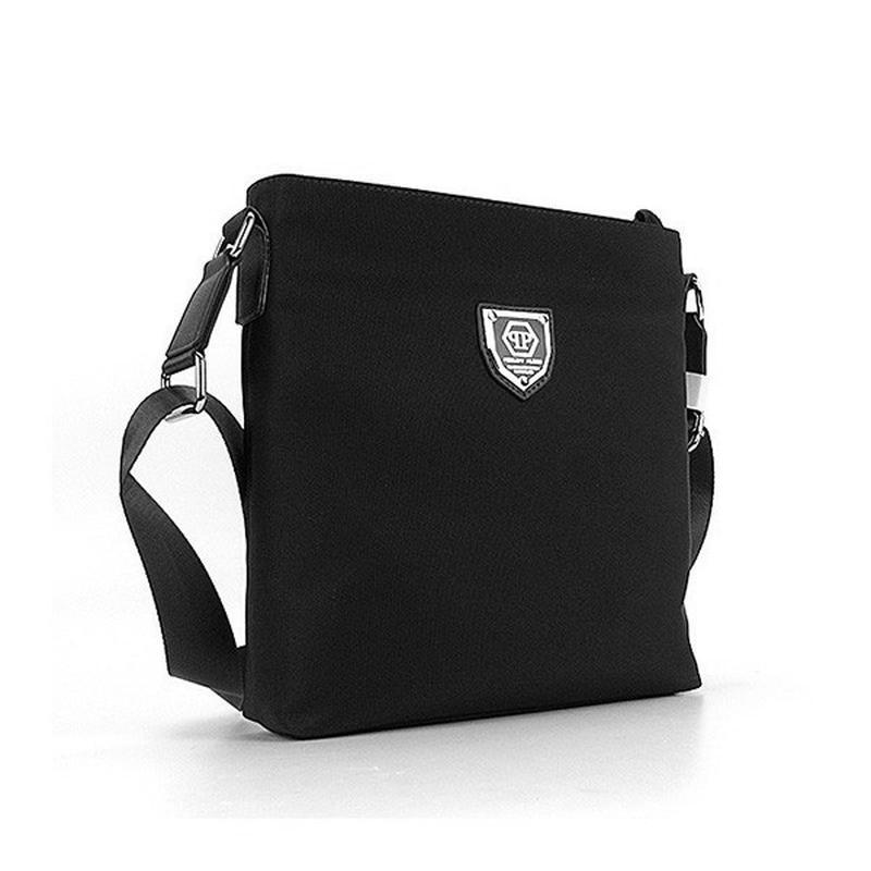 50a6ec6923a2 Мужская черная текстильная сумка через плечо на молнии Philipp Plein ...