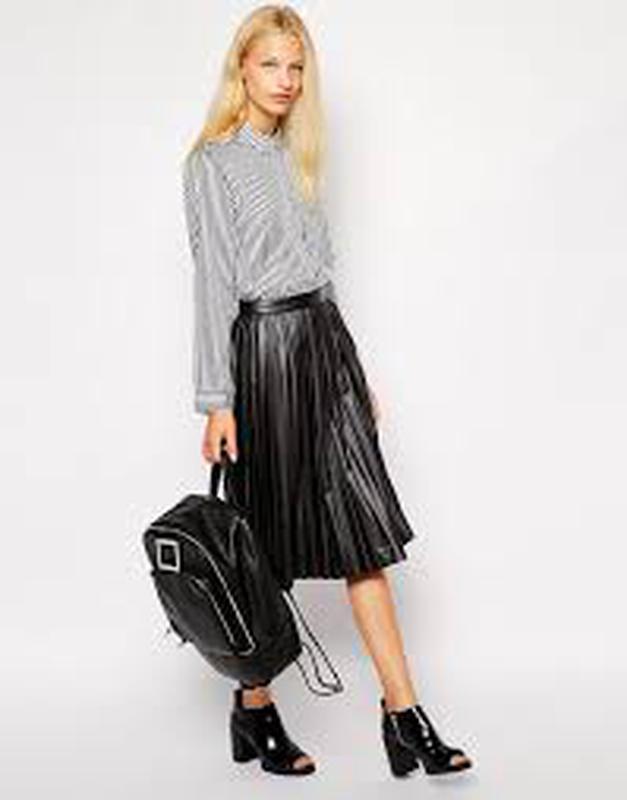 e6b508d0f55 Кожаная плиссированная юбка миди1 фото ...
