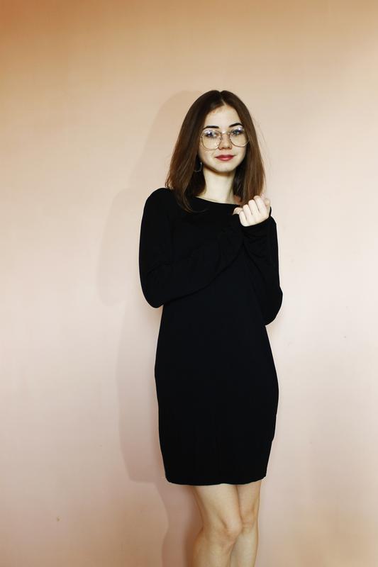 f76a6a19a6c ... Классическое чёрное мини платье с элегантной спинкой по фигуре длинный  рукав от boohoo m ...