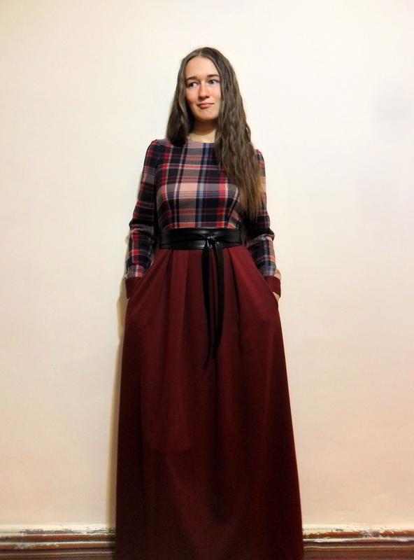 3ef20950d8a6ca1 ... Шикарное осеннее платье в пол. платье в клетку. авторское платье.5 фото