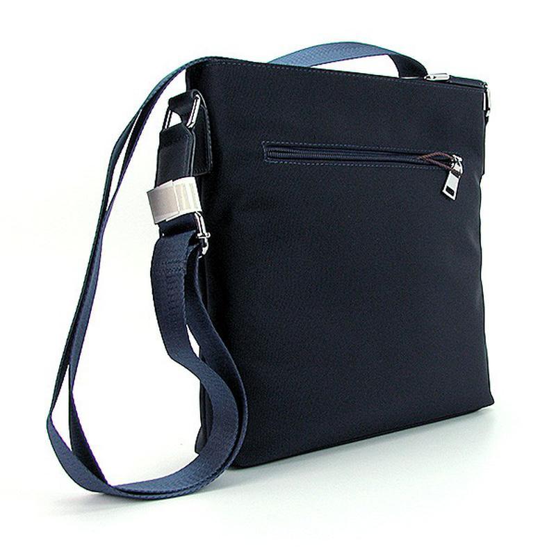 af6b7271837c ... Синяя маленькая мужская сумка через плечо текстильная на молнии2 фото  ...