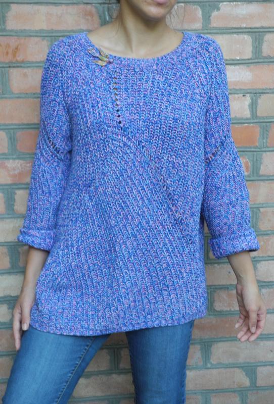 вязаный свитер длинный сине фиолетовый с розовинкой George цена