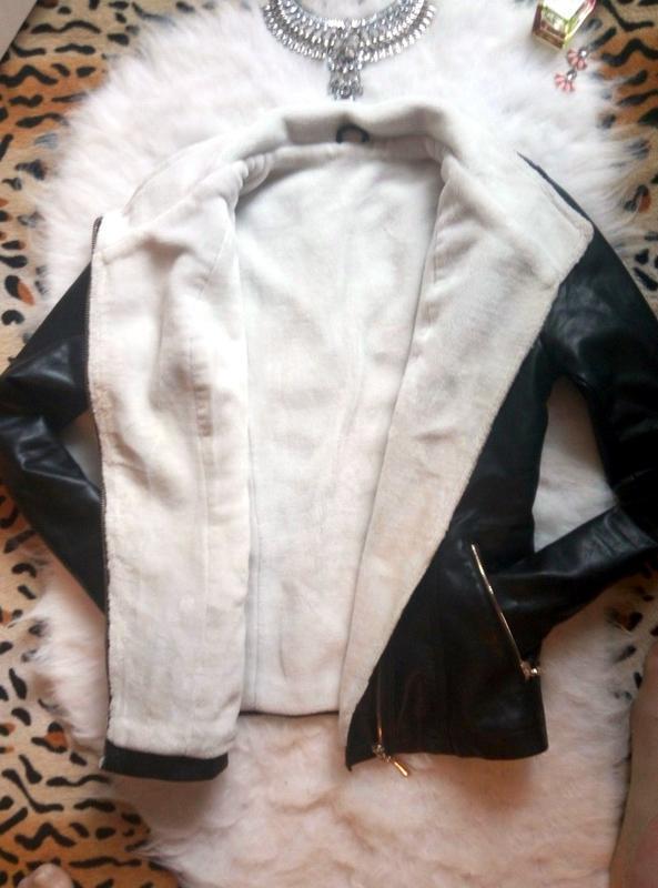 Идеальная черная дубленка косуха кожзам с белоснежным мехом внутри1 ... dacbfaae7d6