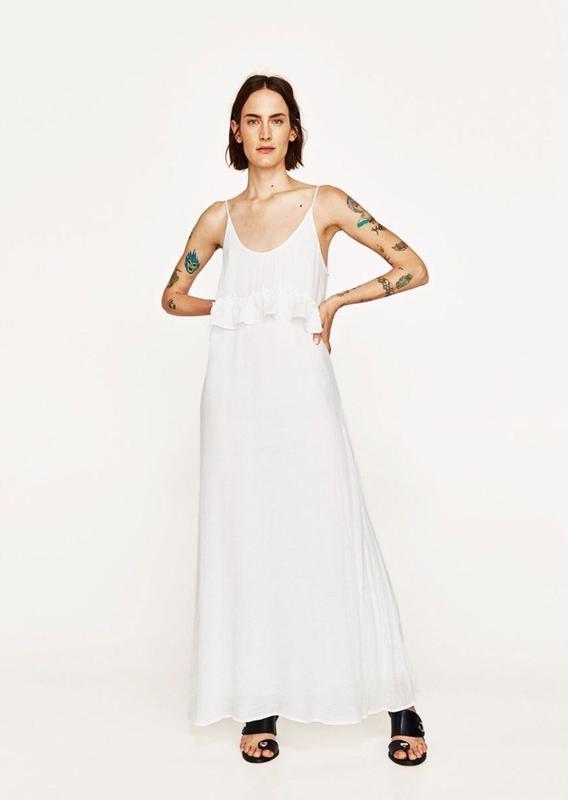 3092838a725 Белое платье макси сарафан zara1 фото ...