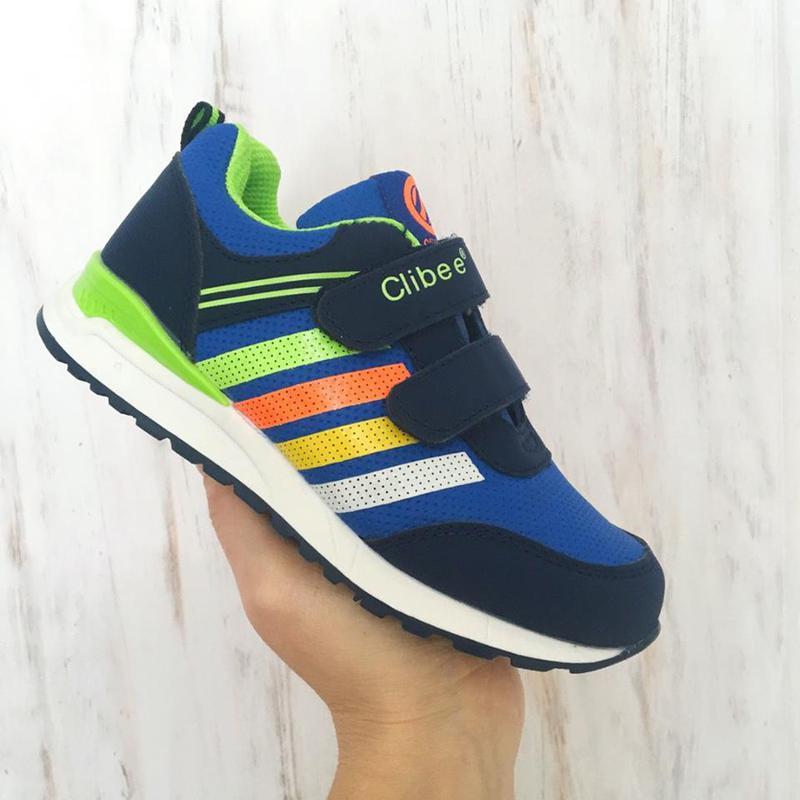 e2ea1832 Детские кроссовки для мальчиков clibee польша размеры 26-31 (синие с  салатовым)1 ...