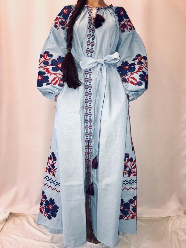 Крутое длинное платье в пол вышиванка бохо вита кин  сукня вишиванка размер  с 81cb3ecc33654
