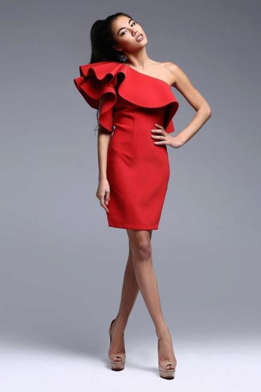 ec18e070523483d Красное платье с воланами. платье с открытыми плечами. выпускное платье.1  фото ...