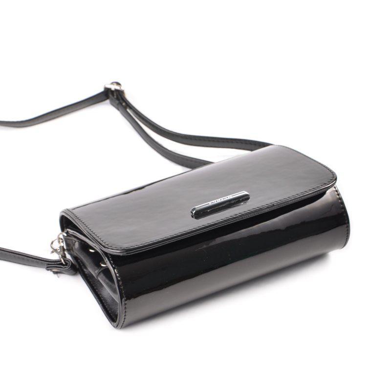 b12fdd6ef561 ... Черная лаковая маленькая сумка клатч через плечо кроссбоди2 фото ...